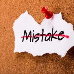 Small Business | picture of mistake crossed out on bulletin board